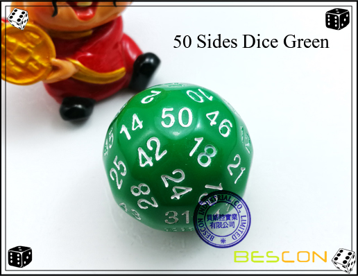 50 Sides Dice Green