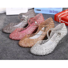 Lady Latest High Quality Crystal Jelly Sandals (FF614-7)