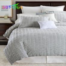 Satin-Streifen Großhandel Tröster setzt Luxus-Bettwäsche-Set weiß Bettbezug Hotel Bettlaken