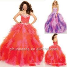 Sweetheart Ballkleid abgestuft Perlen Sweep Zug Sequin Multi Organza Quinceanear Kleid Festzug Kleid Sweet 16