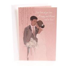 Rosa bendecida y en amor Tarjeta de felicitación de boda de caoba Invitación invitación de boda