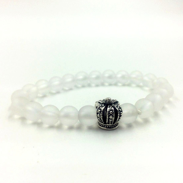 Simple Fashion White Crystal Alloy Crown Bead Bracelet