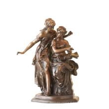 Femme Figure Bronze Sculpture Livre Sœurs Intérieur En Laiton Statue TPE-922