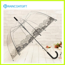 Paraguas transparente de PVC con publicidad recta