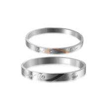 Bracelets en argent faits à la main de bracelet de Jamaïque, bracelet de diamant d'amour de couple