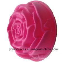 Molde criativo do bolo do projeto de Rosa do tamanho grande do silicone