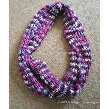 Femme hiver fantaisie mode acrylique tricoté ombre écharpe à l'infini