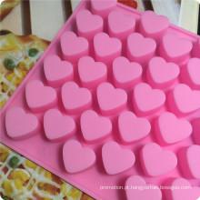 Molde da vara do bolo do PNF de 55 corações do silicone, molde do chocolate