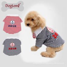 Neuestes Design Anchor Stripe Sommer Frühling aus reiner Baumwolle Stoff Pet T-Shirt