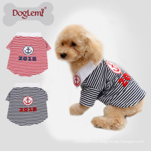 Latest design Anchor Stripe Summer Spring Pure Cotton Fabric Pet T-shirt