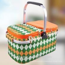 Bolso más fresco plegable con la cesta de la comida campestre del soporte para la cesta de la comida campestre 6 de la persona