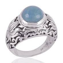Round Aquamarine Gemstone Antique Handmade Design on Silver Ring