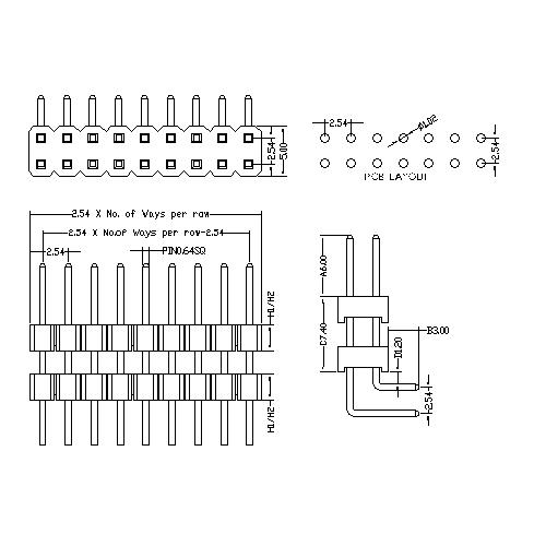 2.54 mm Pin Header Dual Row Double Plastic Angle Type PHER07-XXD