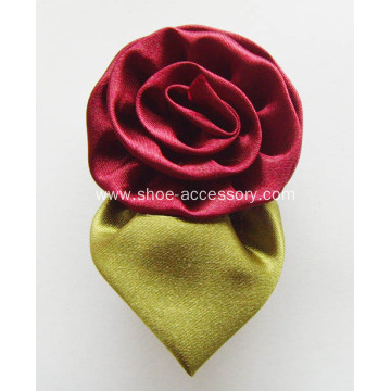 Sorcery Ribbon Rosette with Green Leaves Shoe Clips