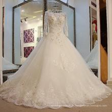 LS09235 Real scoop decote de manga comprida com renda rendas delicadas longos vestidos de casamento direto nos EUA