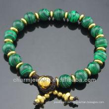 Unisex Naturstein 8MM runde Malachit Perlen Armband Vners mit SB-0262