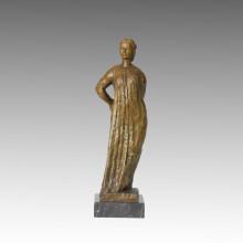 Femme Figure Bronze Sculpture Village Femme Décoration En Laiton Statue TPE-393