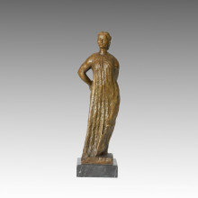 Female Figure Bronze Sculpture Village Woman Decoration Brass Statue TPE-393