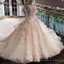 LS00166 O-cuello de la tapa de la manga apliques perla elegante peplum largo tren gordo damas vestido de boda personalizado