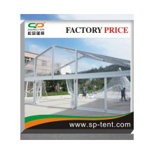 Clear PVC tennis court Tent in Peach shape aluminum structure frame with white ceiling lining for deroration