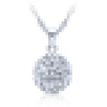 925 Sterling Silber Bead Anhänger Halskette für Frauen mit Kette