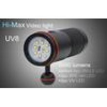 HI-MAX UV8 con 5000 lúmenes 8pc XM-L2 LED, 2pc XPE LED rojo y 2pc UV LED 5000 lumen llevó buceo