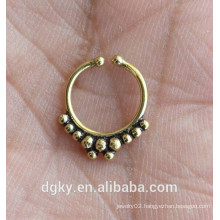 Tribal Faux brass faux septum gold nose ring