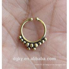 Tribal falso latão faux septum ouro nariz anel