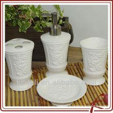 ceramic bathroom accessory set with emboss design