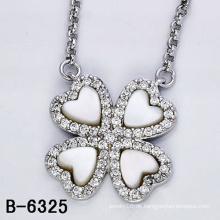 925 Sterling Silber Anhänger Halskette mit weißer Muschel