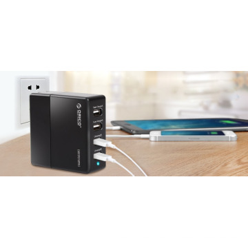 ORICO Puerto USB de 4 puertos cargador adaptador con tecnología de carga inteligente (DCK-4U)