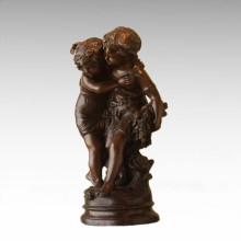 Kinder Figur Statue Blume Schwestern Kinder Bronze Skulptur TPE-926