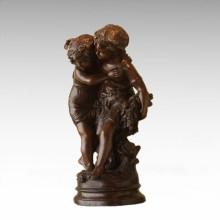 Statue des enfants Statue Fleur Sœurs Enfant Bronze Sculpture TPE-926