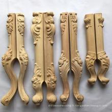 Jambe en bois découpée pour le pied de meubles de table, jambes de sofa