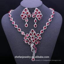 Модные турецкие 925 стерлингового серебра поддельные красный Рубин цирконий свадебные ювелирные наборы