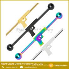 Barbell industrial da arma de aço inoxidável da joia do corpo chapeado a ouro para a orelha