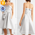 Graceful Silver Strapless Bow-Detailed Satin Mini Summer Dress Fabricación Wholesale Fashion Women Apparel (TA0325D)