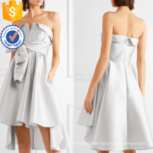 Graceful Silver Strapless Bow-Detailed Satin Mini Summer Dress Manufacture Wholesale Fashion Women Apparel (TA0325D)