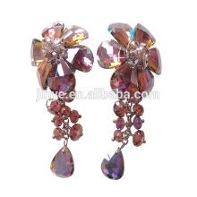 Clip cristalino colorido de lujo de la flor de Bling Bling en los pendientes para la demostración o la fiesta