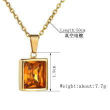 Simple Fashion Diamond Large Zircon Stainless Steel Square Pendant Necklace for Women