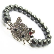 Hematite 8MM Round Beads Stretch Gemstone Bracelet with Diamante alloy cat head Piece
