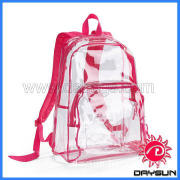 Promotion clear pvc school leisure backpack bag