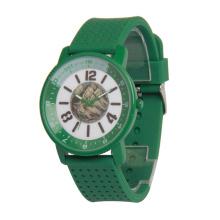 Relógio de pulso colorido do caso da liga, relógio da correia do silicone de Genebra