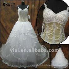 RSW77 hombro correas rebordeado corsé con capas de encaje bordado falda vestido de novia