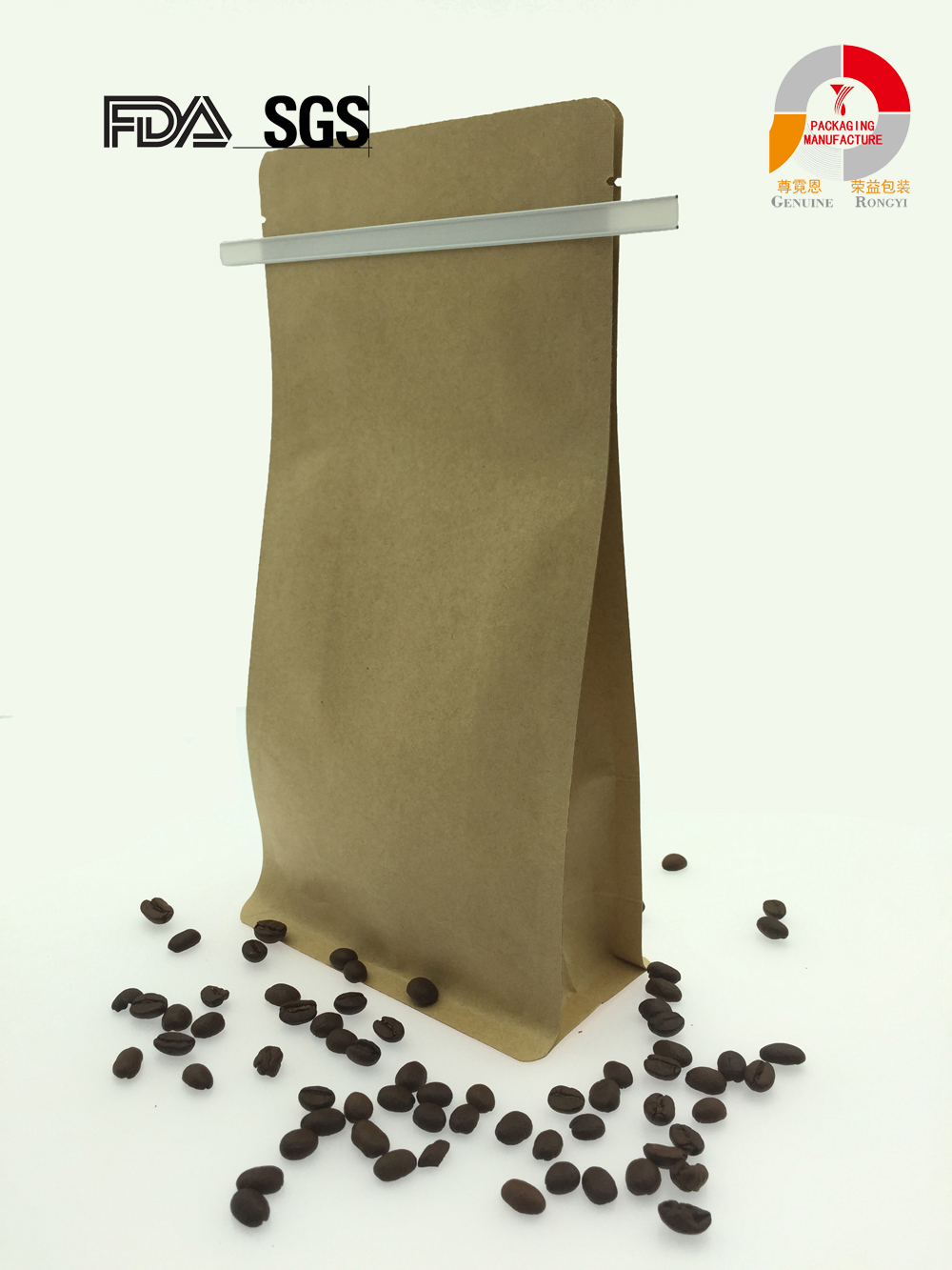 gusset flat bottom e-zip kraft stand up coffee snack bag