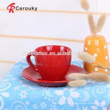 Rote Farbe glasierte Keramik Tasse Kaffee Tasse Set