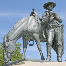 grandes sculptures de cuivre en plein air métal artisanat bronze cowboy cheval statue