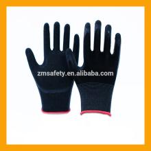 Guantes de goma de agarre de goma negra Guantes de seguridad de cubierta de látex de nylon