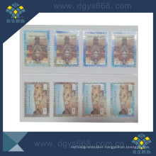 Custom Hot Stamping Post Stamps Sticker with Secutiry Thread Inlaid