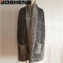 Gray Color Lady Knitted Pocket Winter Scarf Shawls
